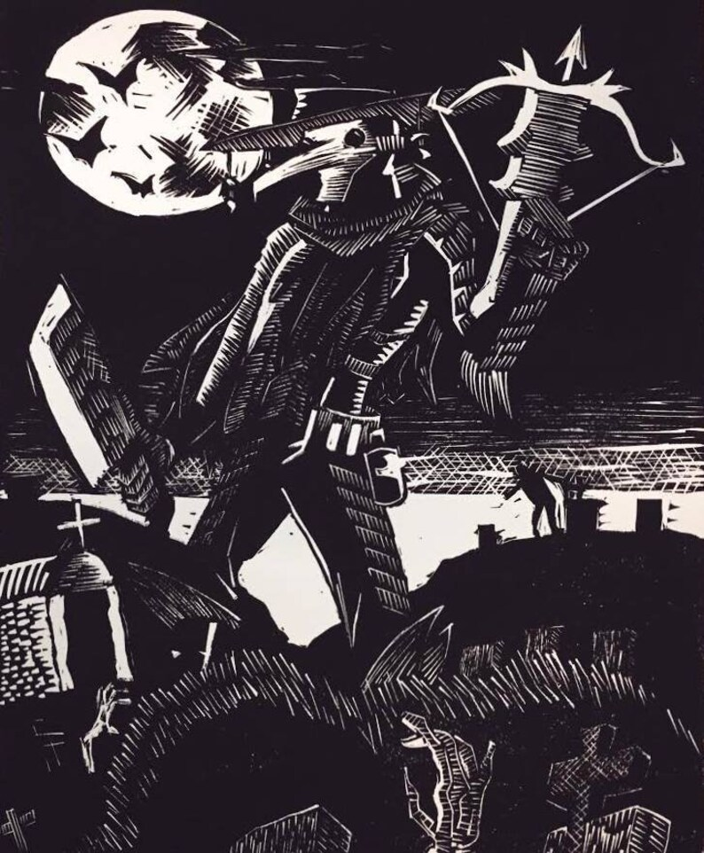 Plague Hunter Linocut Relief Print image 0