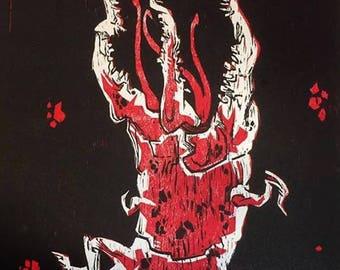 Conqueror Worm Woodcut Print