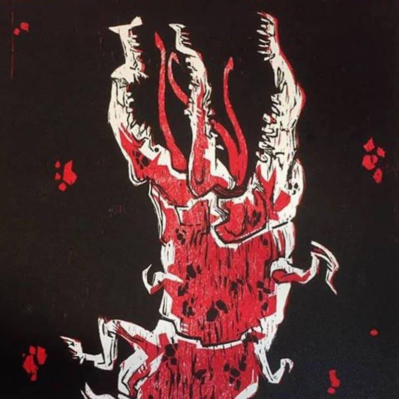 Conqueror Worm Woodcut Print image 0