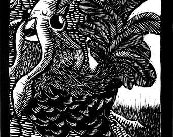 Chicken Squid Linocut Print