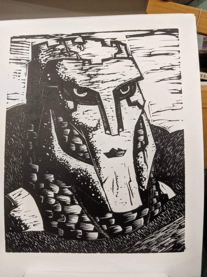 Watcher of Roads Linocut Print Art image 0