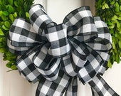 Black and White Buffalo Plaid Bow (9inch), Wreath Bow