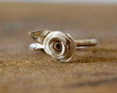 twig engagement ring, branch ring, sterling silver rose ring, silver branch engagement ring- leaf rose engagement ring branch ring for her