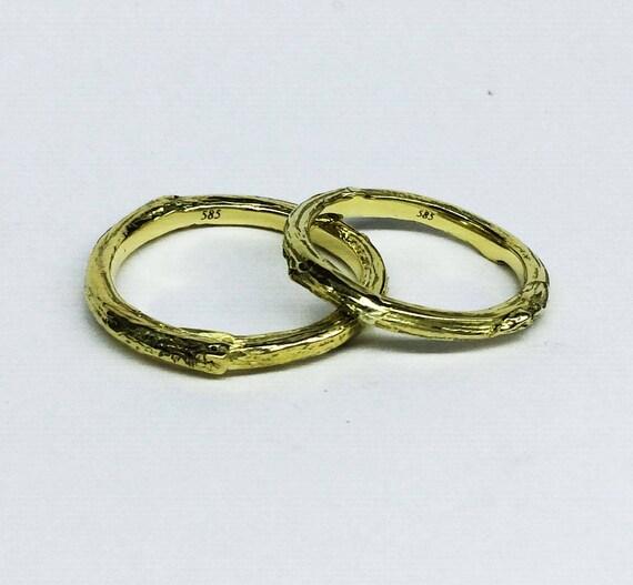 K14 Gold Zweig Ringe Gold Hochzeit Ringe Ast Baum Rinde Etsy