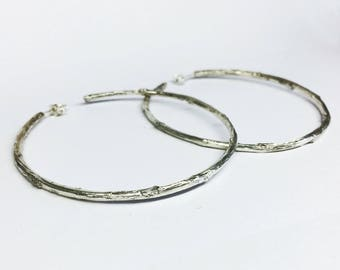 silver hoop earrings, silver twig earrings, branch earrings, 925 silver branches, twig hoop earrings, silver hoops, silver branches