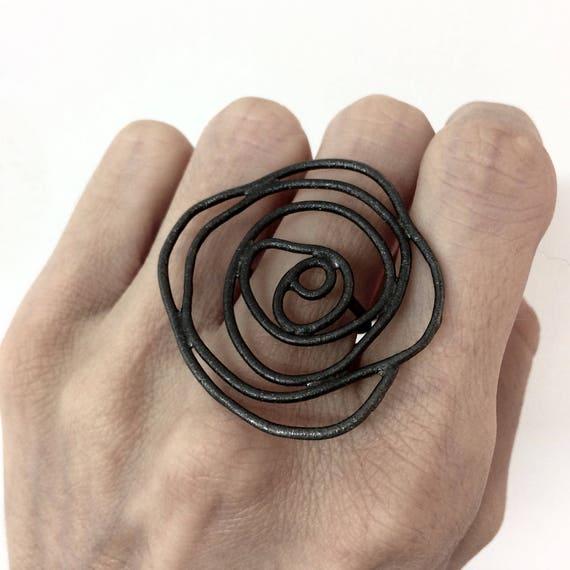 silber schwarz silber ring schwarze rose ring schwarze etsy. Black Bedroom Furniture Sets. Home Design Ideas