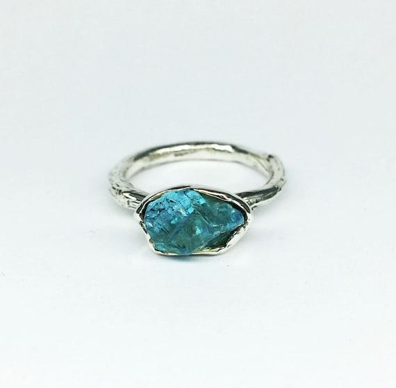Apatite Ring Raw Apatite Gemstone Ring Raw Apatite Ring Crystal Ring Stacking Rings Blue Crystal Ring | Raw Stone Jewelry