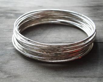 silver bangle bracelet set, handmade sterling silver bangles, set of 10, sterling silver bracelets, hammered bangle bracelets