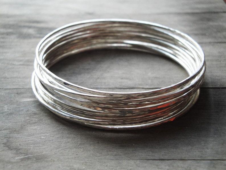silver bangle bracelet set handmade sterling silver bangles image 0