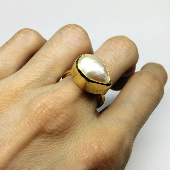 Christmas Gift Raw Pearl Ring Gift For Her Adjustable Ring Women Ring Fashion Ring Gold Plated Ring Statement Ring