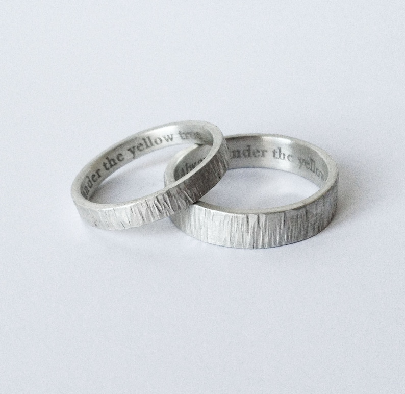 e84f0a0f036fc simple engraved wedding rings, engraved bands, wedding ring set, handmade  wedding bands, 5mm & 3mm, silver wedding rings, custom made