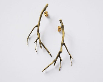 branch jewelry bronze twig earrings - gold branch earrings  statement earrings gold plated ear studs gift for her