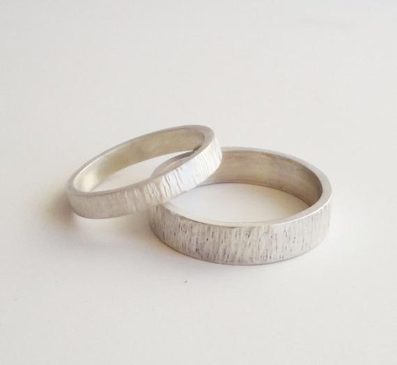 Silberne Hochzeit Ringe Gesetzt Handgemachte Silber Hochzeit Etsy