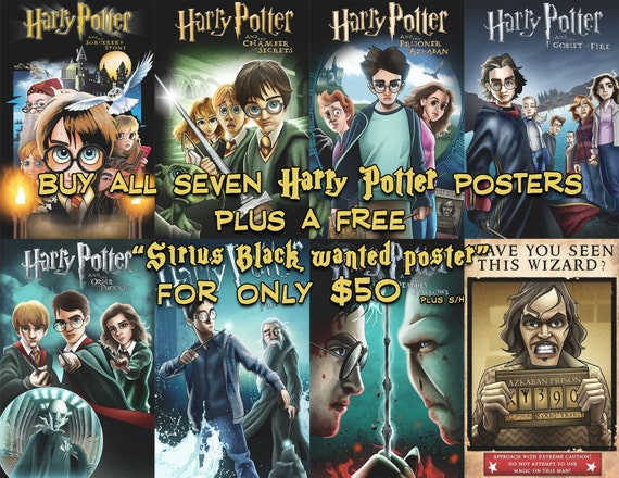 Set Of Harry Potter Movie Posters 1 7 Free Sirius Black Wanted Poster Eight Prints Total 11x17 And 24x36 Sizes