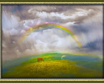After storm - storm, clouds, horses, rainbow, nature,