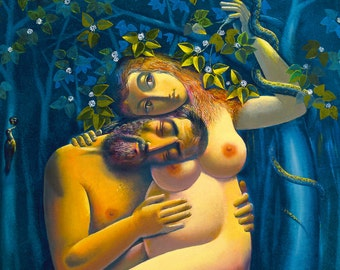 Waiting, Adam, Eve, mystical, naked, love,