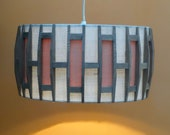 1970s vintage fabric wood ceiling LAMPSHADE natural space age midmod orange creamy white