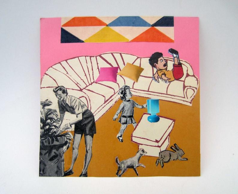 OOAK original COLLAGE art\u23aeLa vie moderne\u23aehome decor outsider art tiny art