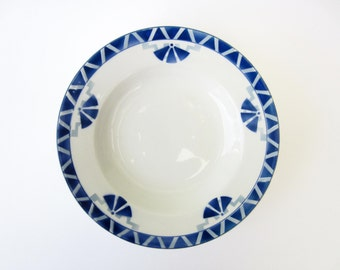 French vintage ceramic SOUP PLATE⎮blue Art deco pattern⎮Orchies France⎮mid century modern retro⎮collectible plate⎮set of 4