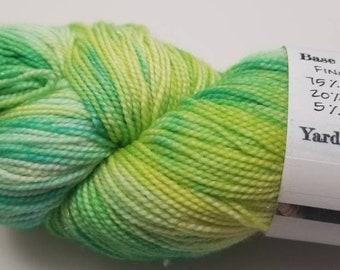 "Silver Spectacle Base: ""Ectoplasm"" 75/20/5 SW Merino/Nylon/Sparkle Yarn, Fingering Yarn"