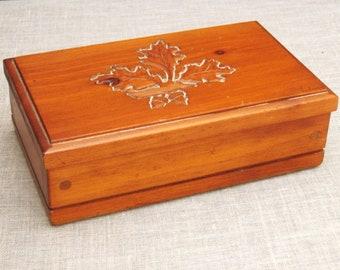 Vintage Wooden Jewelry Box, Gerardcraft, Oak Leaf Design, Storage, Organization, Hand Carved,Folk Art,Masculine,Handmade,Rustic Cabin Decor