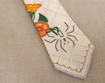 Handmade Mens Tie, Linen, Tropical, Hand Sewn, Bespoke, Floral Ties, Orange, Flowers, Easter Tie