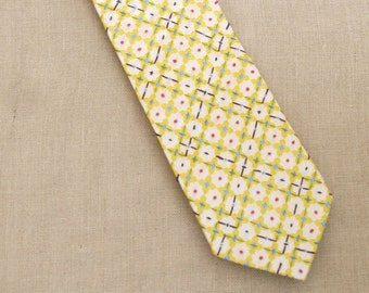 Vintage Silk Neck Ties, Flowers, Yellow, Hand Embroidered, Neck Wear, Up Cycled, Preppy
