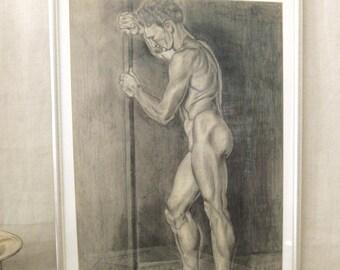 Vintage Male Portrait Drawing, Nudes, Pencil, Antique Works on Paper, Original Fine Art, Figure, Figurative, Portraiture, Masculine