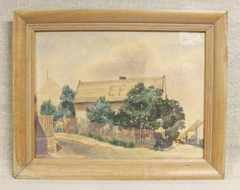 Vintage Barn Landscape Painting, Watercolor, Framed Original Fine Art, Architecture