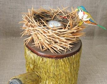 Folk Art Bird Nest Sculpture, Wil Shepherd Studio, Handmade, Found Object Assemblage, Recycled Materials, Antique Toy Bird, Egg
