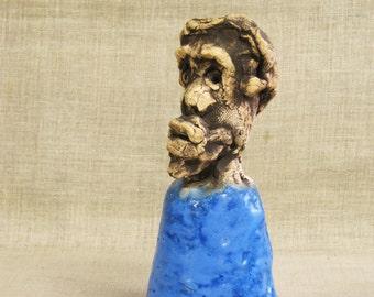 Vintage Ceramic Bell, Unusual, Male Portrait Bust, Studio Ceramic Sculpture