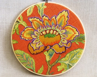 Hoop Art Floral Embroidery, Hand Embroidered, Flower, Wil Shepherd Studio, Orange and Green, Wall Decor, Wedding, Hand Sewn Textile,Handmade