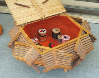 Vintage Sewing Basket, Folk Art Popsicle Stick, Storage, Organization, Primitive Rustic Cabin Decor