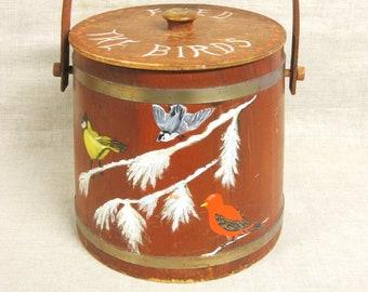 Vintage Round Lidded Box, Bird Folk Art, Hand Painted, Storage, Sewing Bucket, Organization