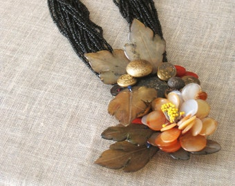 Folk Art Handmade Necklace, Statement, Stones, Button Assemblage, Jewelry, Large Pendent, Beadwork, Black, Wil Shepherd Studio