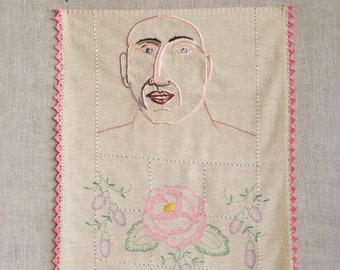 Hand Embroidery, Male Portrait, Hoop Art, Portraiture, Hand Sewn, Wall Decor