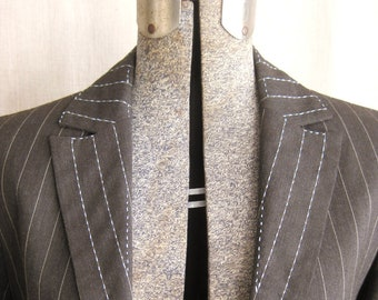 Vintage Womens Blazers, Light Brown, Pinstripe, Stripped, Upcycled, Wool, Hand Embroidered