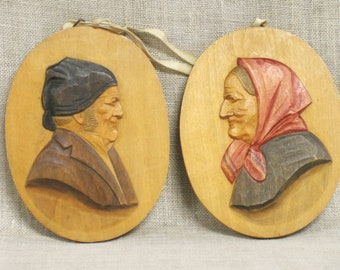 Antique Folk Art Carved Wooden Plaques, Wall Decor, Male Female Portrait, Wood Carving, European Carvings, Handmade, Side Profile, Couple
