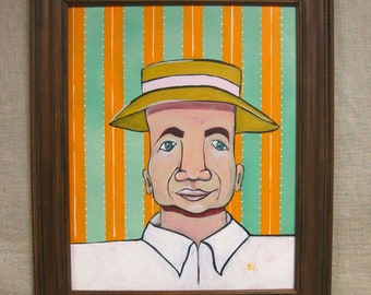 Folk Art Male Portrait Painting, Framed Original Fine Art, Men in Hats, Stripes