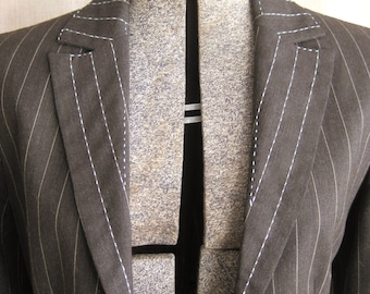 Vintage Womens Blazers, Light Brown, Pinstripe, Stripped, Upcycled, Wool, Ladies Clothing, Hand Embroidered, High Fashion