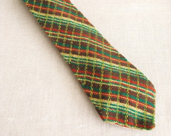 Vintage Green Stripe Tie, Hand Embroidery, Handmade, Wool, OOAK, Up Cycled, Preppy, Tan and Green