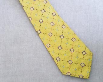 Mens Neck Ties, Silk Neckties, Plaid Tie, Yellow, Neckties, Hand Embroidered, Handmade, Wil Shepherd, Vintage, Neck Wear, Up Cycled, Preppy