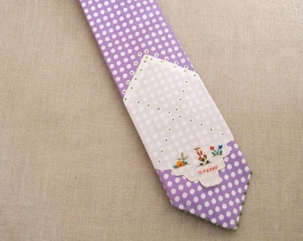 Vintage Mens Neck Ties, Necktie, Polka Dots, Lavender, Silk , Hand Embroidered, Neck Wear, Up Cycled, Preppy