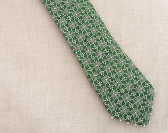 Vintage Silk Ties, Floral, Mens Accessories, Flowers, Green, Neckties, Hand Embroidered, Handmade, Wil Shepherd Studio, Up Cycled, Preppy