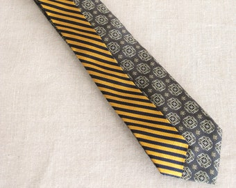 Vintage Silk Tie, Stripes, Mens Necktie, Hand Embroidered, Gray, Yellow, Upcycled, Preppy