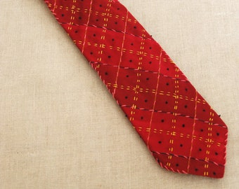 Vintage Mens Ties, Silk Neckties, Red Plaid Necktie, Hand Embroidered, Up Cycled, Preppy
