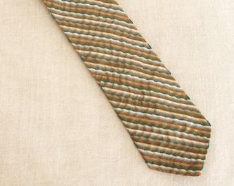 Mens Neck Ties, Silk Necktie, Stripped, Stripes, Olive, Ties, Hand Embroidered, Handmade, Wil Shepherd, Vintage, Neck Wear, Up Cycled,Preppy