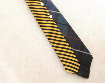 Vintage Ties, Striped, Plaid, Hand Embroidered, Mens Accessories, Navy, Gold, Upcycled, Preppy