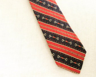 Mens Ties, Silk Necktie, Stripped, Stripes, Navy Red, Nautical, Hand Embroidered, Handmade, Wil Shepherd, Vintage,Neck Wear,Up Cycled,Preppy