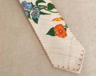 Mens Ties, Neckties, Linen, Tropical, Hand Sewn, Bespoke, Floral, Orange, Easter, Fathers Day Gift